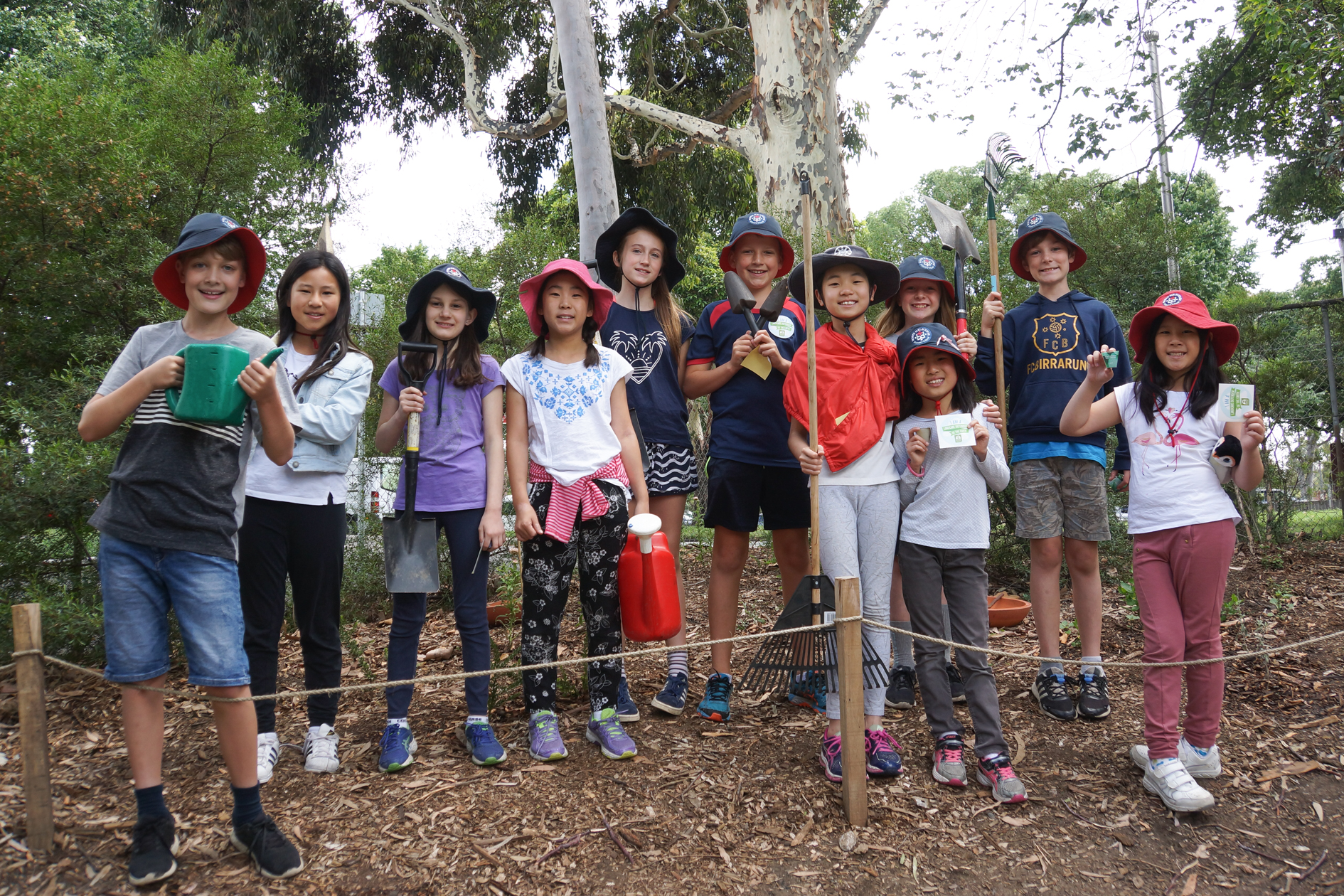 North Melbourne Primary students work on their bird sanctuary