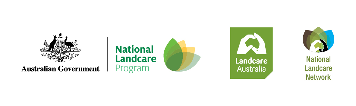 Landcare Farming Supported by Australia Government, Landcare Australia and National Landcare Network Logos