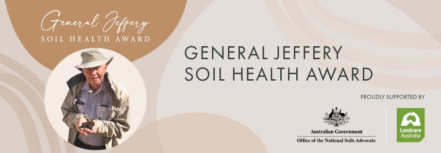 Photo of General Jeffery with text background promoting soil health award
